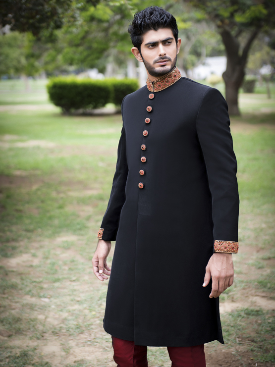 Simple Black Sherwani Traditional Designer